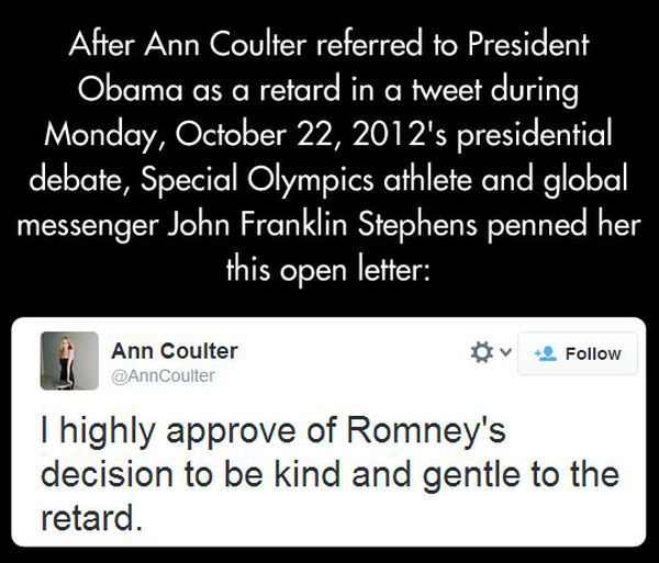 Open Letter from Franklin Stephens to Ann Coulter