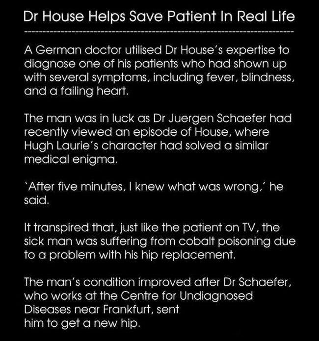 Dr. House Helps Save Patients in Real Life