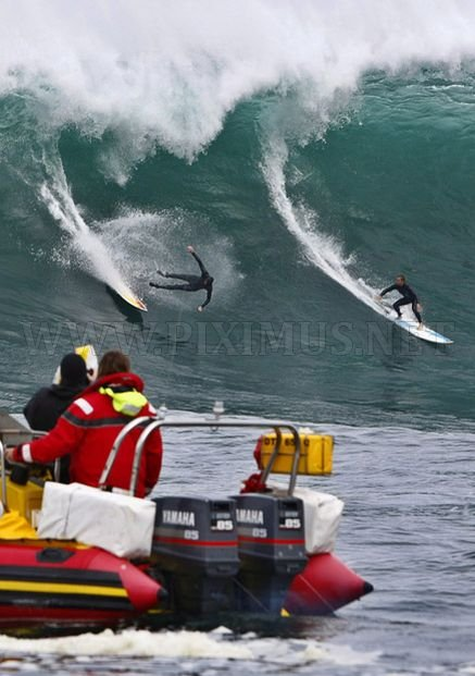 Surfing on a big wave in Cape Town