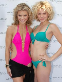 Annalynne McCord in a sexy pink swimsuit