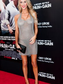 Brittany Cole in see-thru dress at 'Pain and Gain' Miami premiere