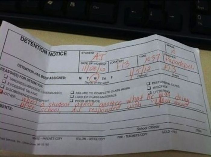 Funny Detention Notices