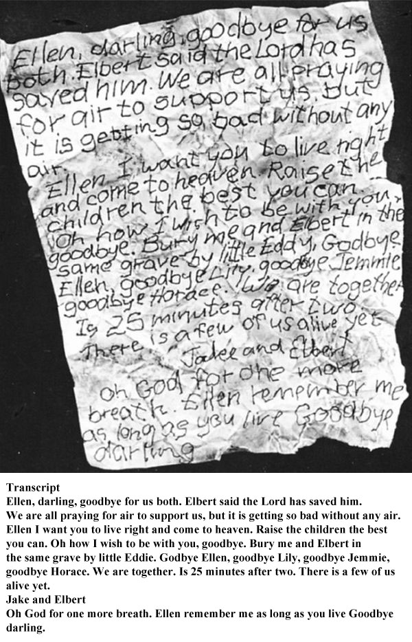 A Letter from a Coal Miner Trapped After a Mine Explosion