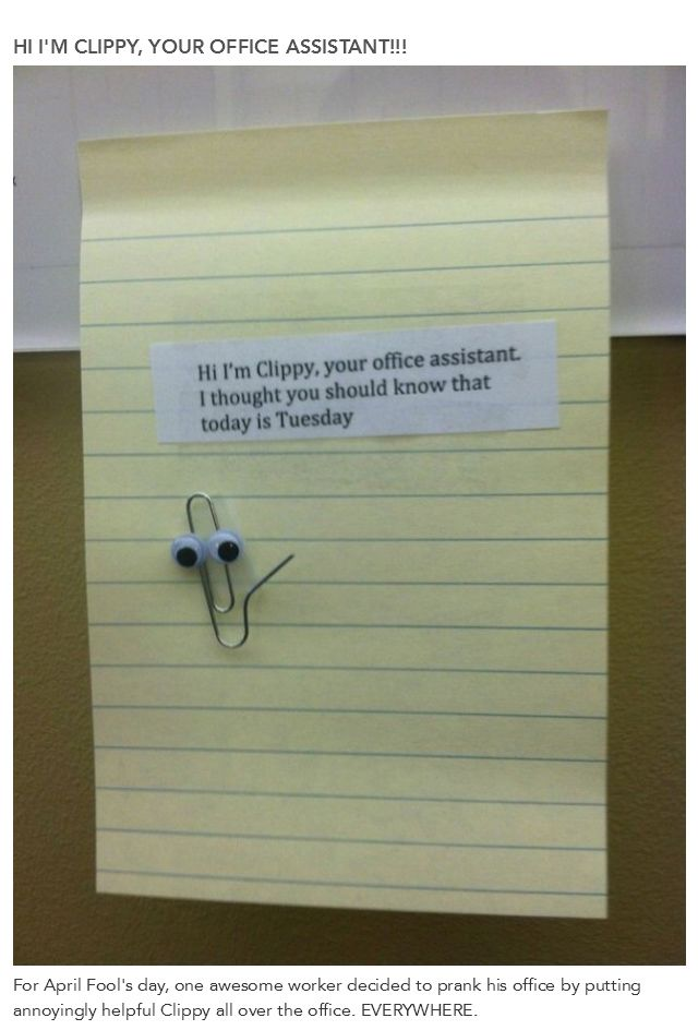 Microsoft Office Paperclip in an Office Prank