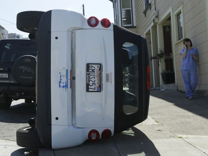 Bad Guys Flipping Over Smart Cars In San Francisco