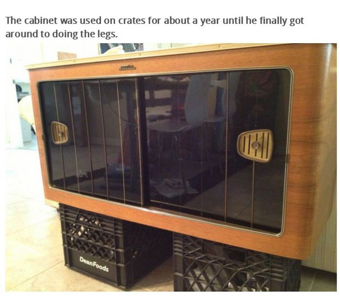 Radio Doesn't Work Anymore Now It's A Liquor Cabinet