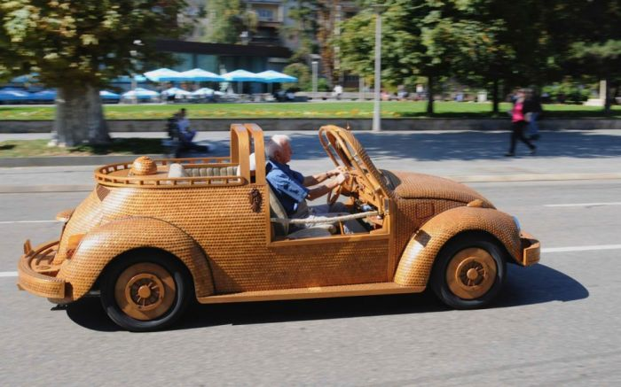 Volkswagen Beetle Made Out Of Wooden Tiles