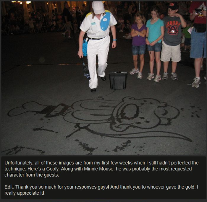Janitor At Disney World Draws Characters With A Broom