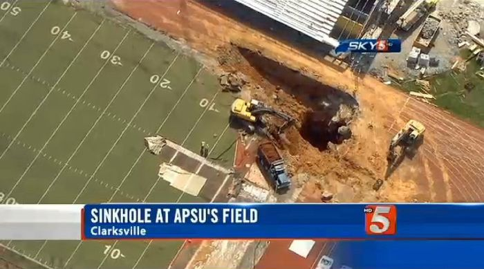 This Sinkhole Ate The End Zone