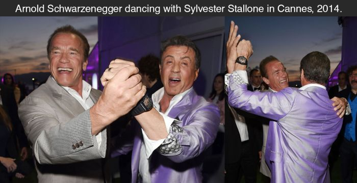 Schwarzenegger And Stallone Share A Dance