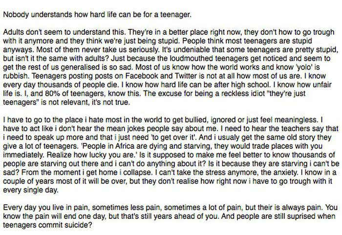 14 Year Old's Open Letter To The World