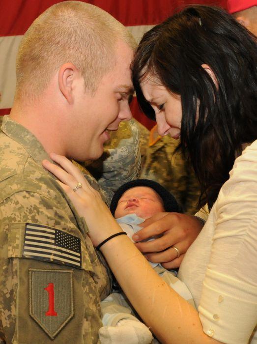 Soldiers Return Home To Meet Their Children