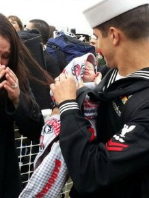 Soldiers Return Home To Meet Their Children