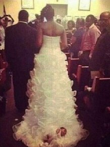 Tying Your Baby To Your Wedding Dress Is A Bad Idea