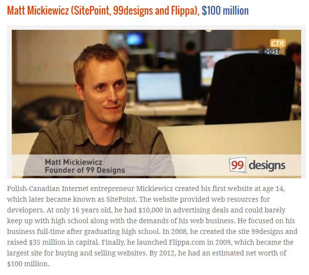 Website Owners That Became Rich Before Age 25, part 25
