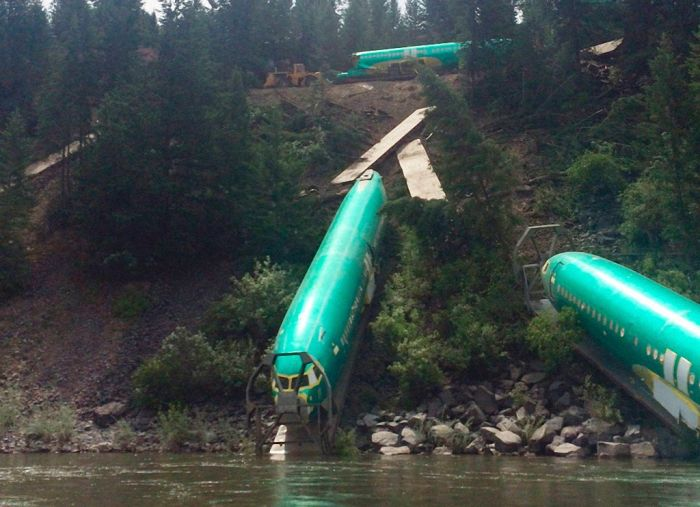 A Train Carrying Planes Derails