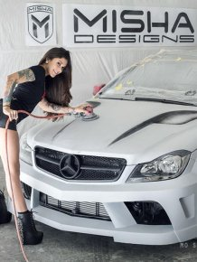 Mercedes-Benz tunned by Misha and model Kayla Jane