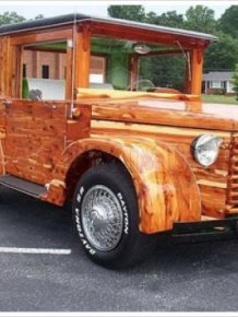 Unique V8 Wooden Car