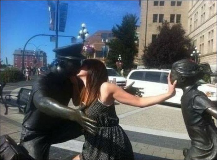 Having Fun With Statues And Monuments