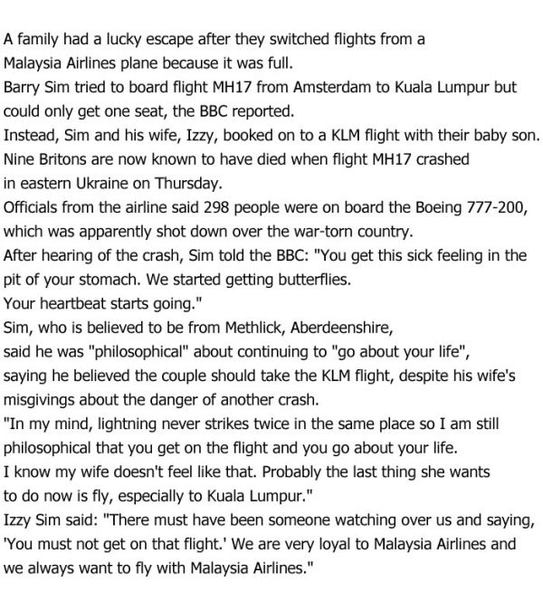 Couple Almost Boarded Malaysia Airlines Flight MH17