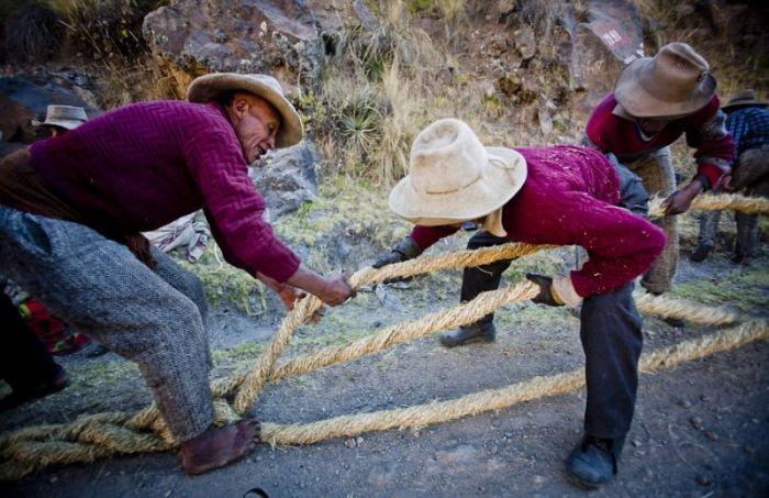 Handmade Suspension Bridge In Peru