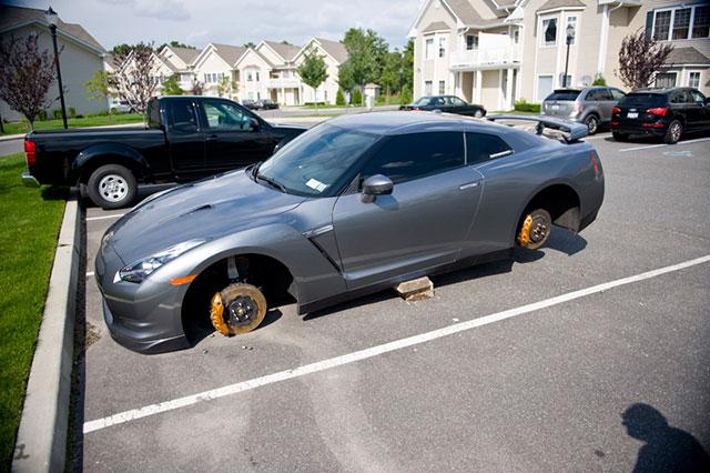 Cars on bricks