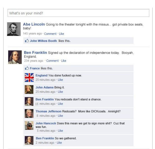 if historical events had facebook statuses fun