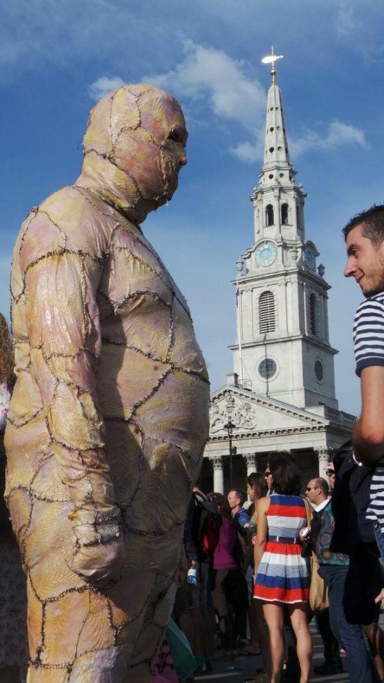 Man Walks Around Town In Chicken Skin Suit