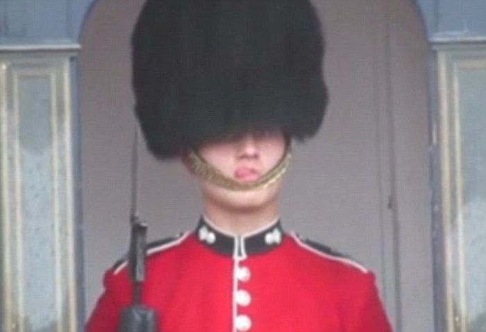 Queen's Guard Has A Wardrobe Malfunction