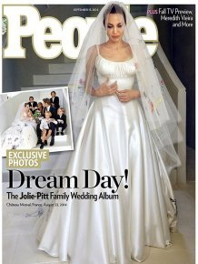 Angelina Jolie Let Her Kids Cover Her Wedding Dress With Drawings