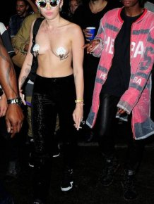 Miley Cyrus Goes Topless Out On The Town