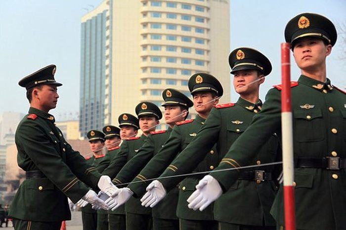 Chinese Police Training For The Military Parade
