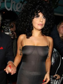 Lady Gaga Goes Braless In Belgium