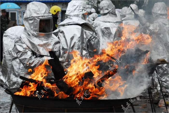 Chinese Police Burning Seized Drugs