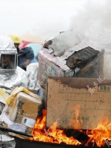 Chinese Police Burning Seized Drugs