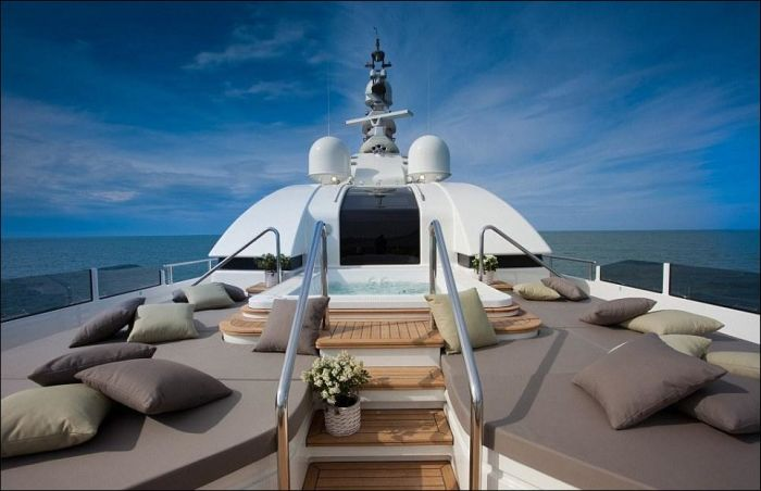 Yacht with a Built-in Garage for Boats
