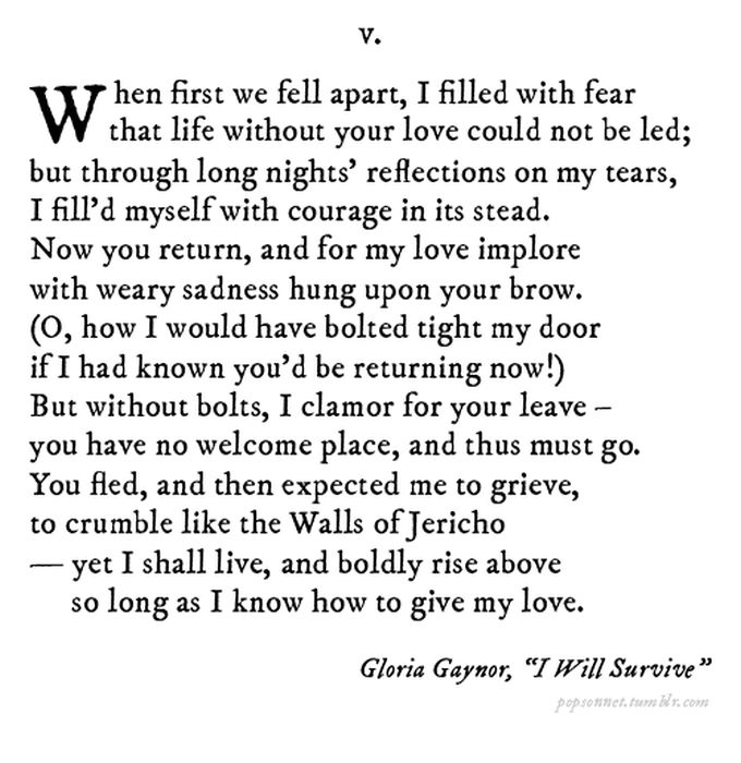 Famous Pop Song Lyrics Rewritten As Sonnets Others
