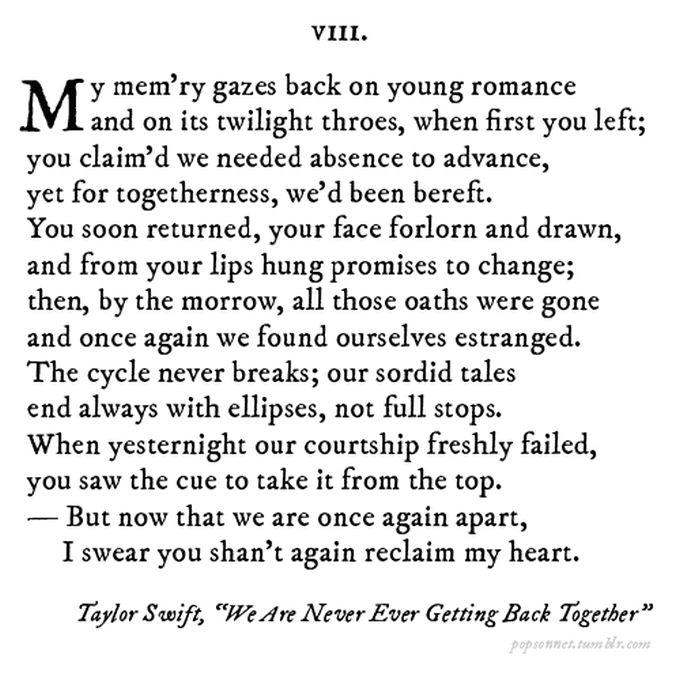 Famous Pop Song Lyrics Rewritten As Sonnets