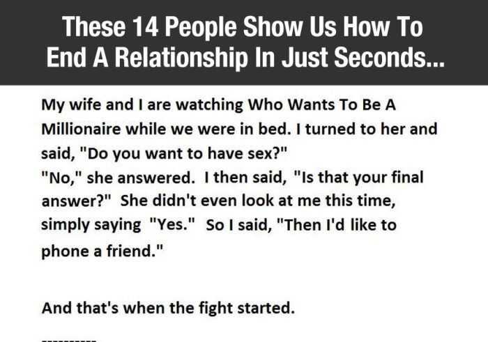 Hilarious Fights That Ended A Relationship