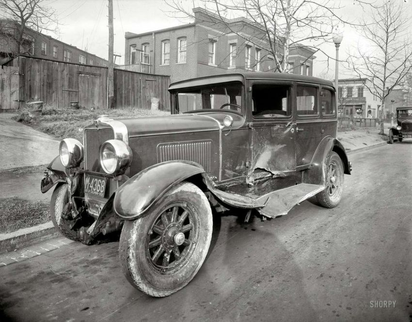 American Car Accident From Early 20th Century Vehicles
