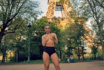 Brazilian Miss Bum Bum Contestant Poses At The Eiffel Tower