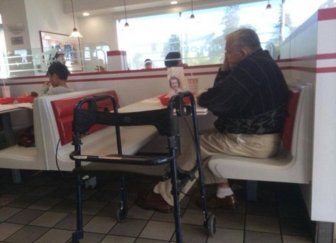 Man Still Takes His Wife To Lunch Long After She's Gone