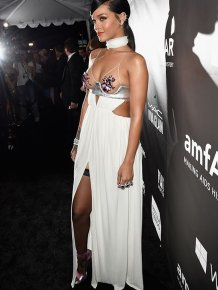 Rihanna and Miley Cyrus Wearing Sexy Dresses