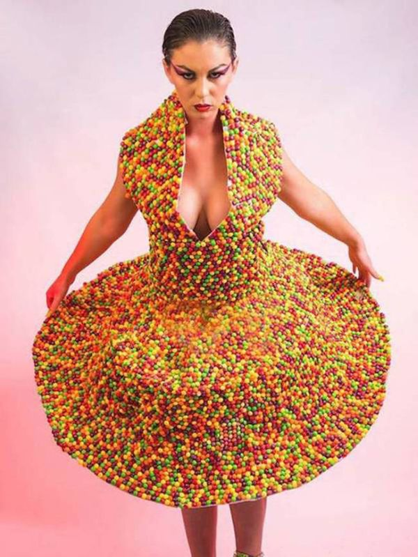 See The Dress That's Made Out Of Using 3,000 Skittles