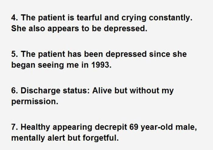 Hilarious Sentences Found In Patients' Hospital Charts
