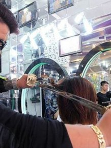 This Hairdresser Uses A Samurai Sword