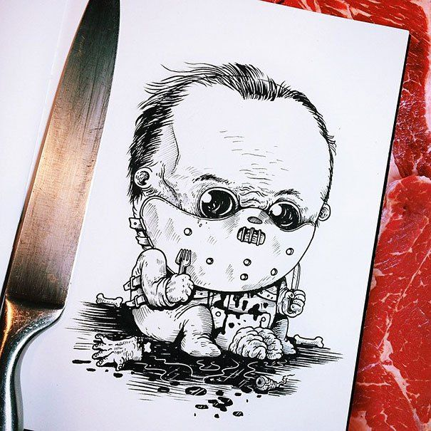 Famous Horror Characters Drawn As Creepy Babies