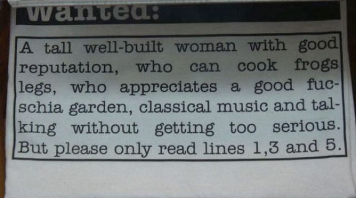Random And Hilarious Personal Ads