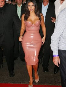 Kim Kardashian Steps Out In A Tight Flesh Colored Dress