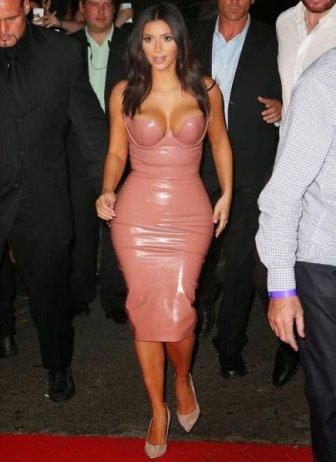 Kim Kardashian Steps Out In A Tight Flesh Colored Dress